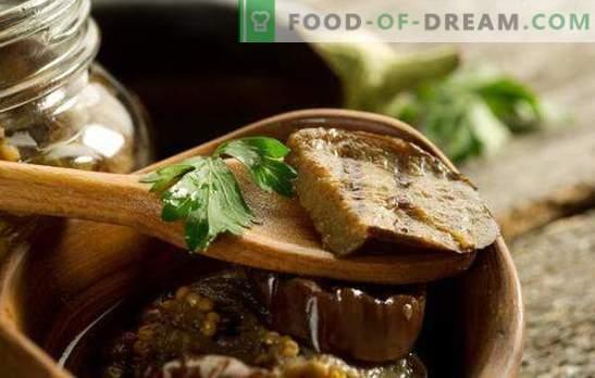 Przydatne i pachnące marynowane bakłażany z czosnkiem w słoikach. Solone bakłażany z czosnkiem i różnymi dodatkami