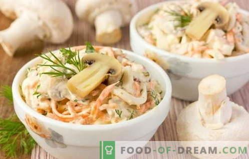 Sałatki z kurczakiem i grzybami to najlepsze przepisy. Jak prawidłowo i smacznie ugotować sałatkę z kurczaka z grzybami.