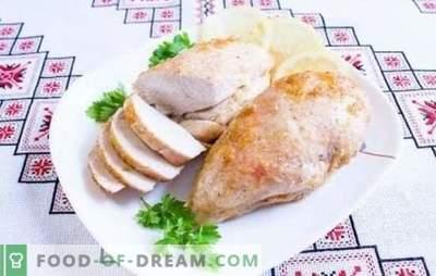 Küpsetatud, praetud, hautatud kanafilee majoneesis. Lihtne retsept eelarve majutamiseks majoneesiga