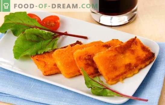 Podsmaż ser w bułce tartej - domowej roboty lub kupiony. Oddzielna przekąska lub całe danie - smażony ser w bułce tartej