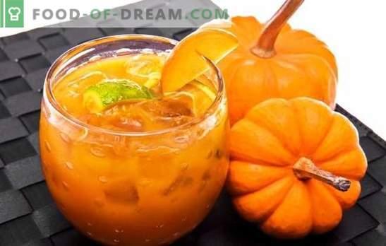 Dżem dyniowy z pomarańczą jest przydatnym przysmakiem. Opcje dżem dyniowy z pomarańczą i cytryną, suszone morele, rokitnik, orzechy