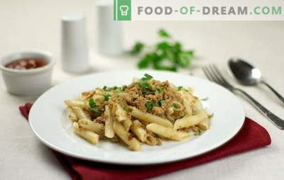 Granatowy makaron z mielonym mięsem - jest szybki i pożywny! 10 najlepszych receptur makaronu z mielonym mięsem: wieprzowina, kurczak, kolektyw