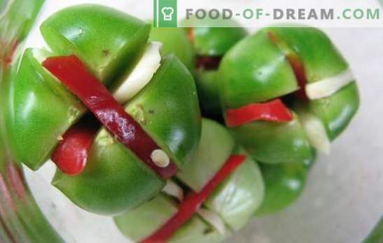 Zielone pomidory z czosnkiem - możesz zrobić pyszne! Zbiór zielonych pomidorów z czosnkiem na różne sposoby