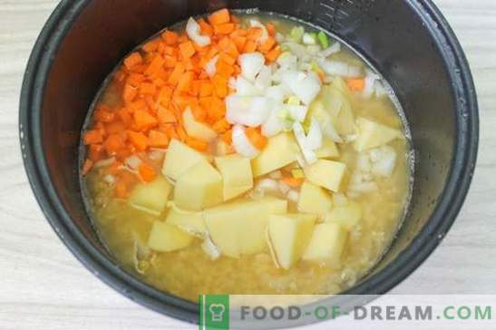 Zupa grochowa w wolnej kuchence (zdjęcie): technologia na straży na lunch. Foto-krok po kroku: grochówka w wolnej kuchence. Patrzymy!