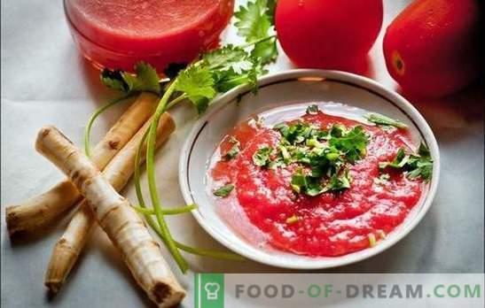 Chrzan z pomidorami i czosnkiem - pyszne bzdury! Jak zrobić przyprawę z chrzanu z pomidorami i czosnkiem na różne sposoby
