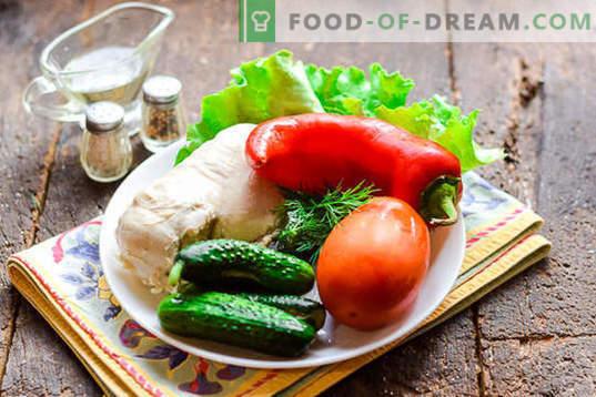 Sałatka dietetyczna z piersią z kurczaka bez majonezu