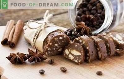 Czekoladowa kiełbasa - przepyszne przepisy kulinarne. Gotowanie kiełbasy czekoladowej z ciastek, z kakao, mleko skondensowane, orzechy