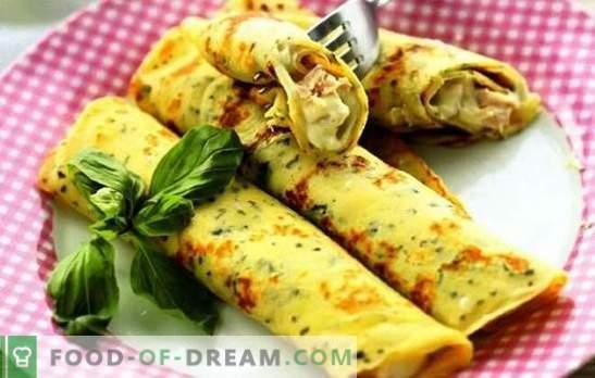 Naleśniki z serem, zielenią, szynką, kurczakiem na mleku i kefirem. Popularne przepisy na gotowanie naleśników z serem
