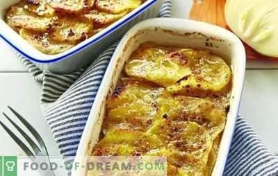 Mięso mielone w piekarniku z ziemniakami (przepis krok po kroku): wiele opcji. Farsz w piekarniku z ziemniakami (krok po kroku): w formie i doniczkach