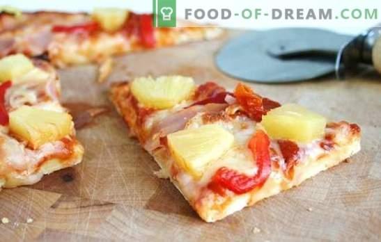 Ананас пица - италијански пита со егзотичен вкус! Готвење разни пици со ананас: солено, зачинето, слатко