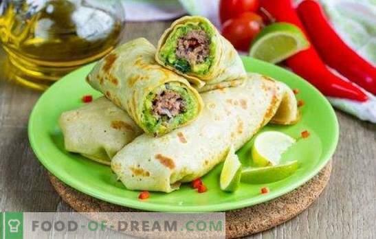 Rolka Lavash z mielonym mięsem pieczonym w piekarniku - obfity posiłek. Piec w piekarniku rolkę pity z mięsem mielonym, warzywami, serem
