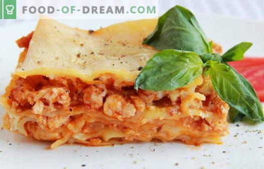 Lasagne z kurczaka - najlepsze przepisy. Jak prawidłowo i smacznie gotować lasagne z kurczakiem.