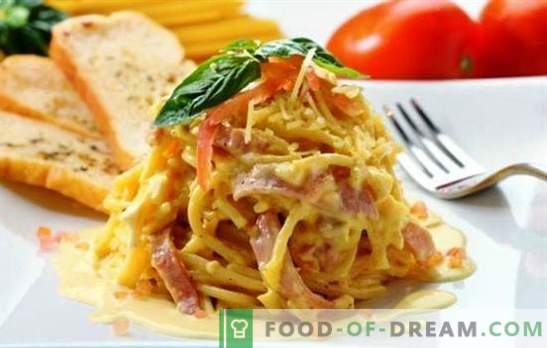 Spaghetti z szynką - podstawowe i złożone przepisy, klasyczne i sos. A także niezwykła pizza z makaronu ze spaghetti z szynką