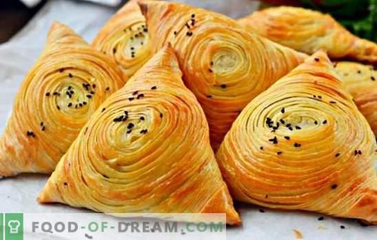 Puffed samsa - odżywczy, soczysty i niesamowicie smaczny! Gotowanie prawdziwego domowego ciasta francuskiego samsa w piekarniku