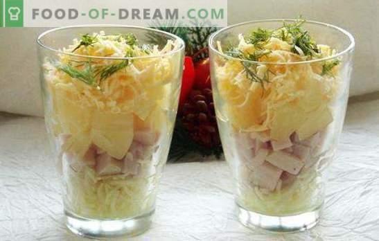 Koktajl sałatkowy z szynką - piękno! Przepisy na sałatki koktajlowe z szynką i warzywami, serem, kukurydzą, ananasem, kurczakiem