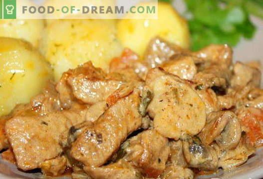 Wieprzowina z grzybami - najlepsze przepisy. Jak prawidłowo i smacznie gotować wieprzowinę z grzybami.