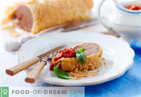Strudel mięsny - najlepsze przepisy. Jak prawidłowo i smacznie przygotować strudel z mięsem.