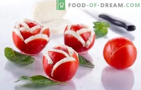 Przekąski pomidorowe, sałatki i przystawki na zimę. Sprawdzone przepisy na przekąski pomidorowe w zimowym menu: z pieprzem, grzybami, orzechami