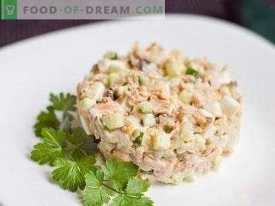 Salads with canned pink salmon
