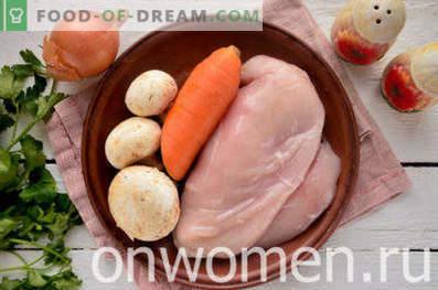 Kurczak duszony z grzybami