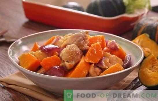 Kurczak z dynią w piekarniku - potrawy z drobiu bez kłopotów. Piec w piekarniku cały lub pokrojony kurczak z dynią